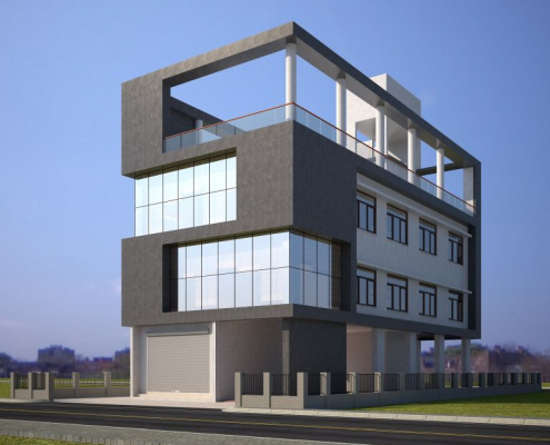 Front Elevation of spyn Office 3D