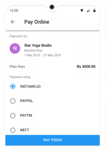Online fee Payment by Yoga member