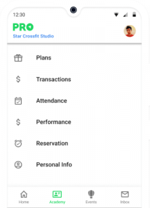 App for Crossfit studio member