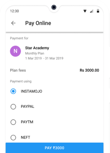 Online Payment of Academy fees