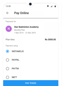 Online Fee Payment of Badminton Academy