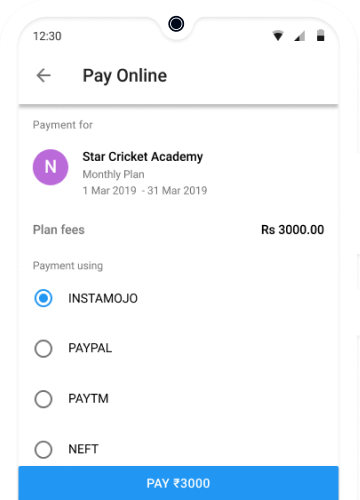 Online Fees Payment for Cricket