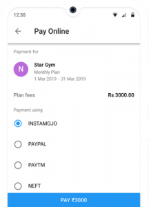 Online Fees Payment for Gym
