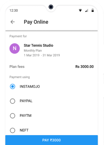 Online Fee Payment of Tennis Academy