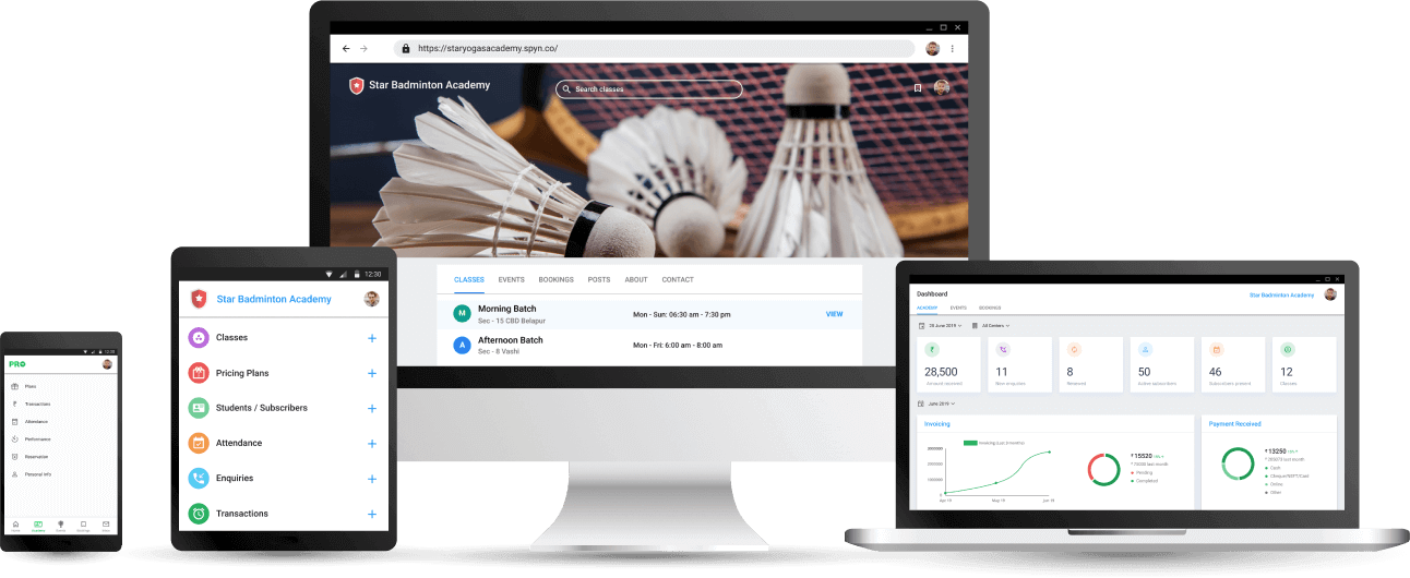 Badminton Coaching Academy Management App - Cloud based Software