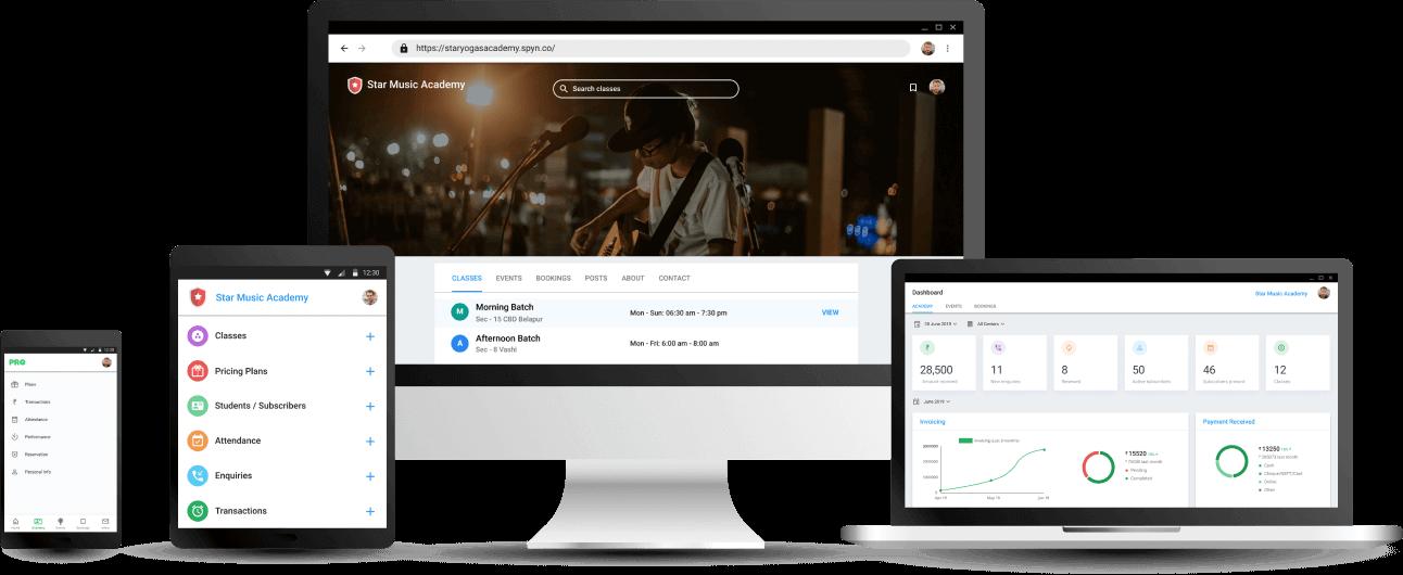 Music Class Academy Management App - Cloud based Software
