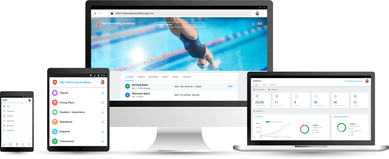 Swimming Coaching Academy Management App - Cloud based Software