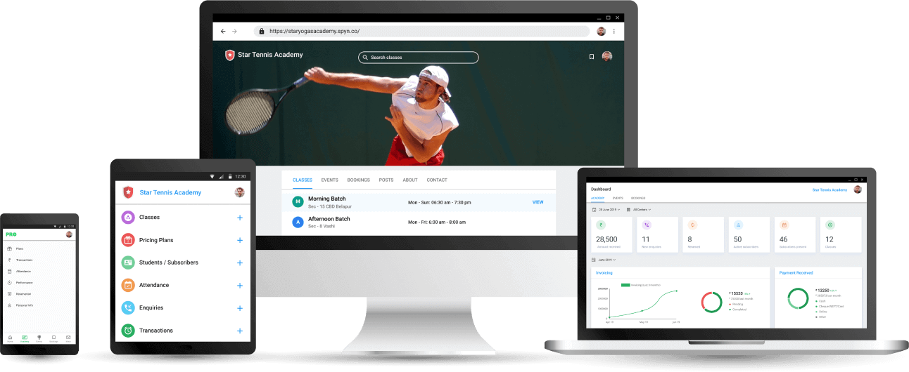 Tennis Coaching Academy Management App - Cloud based Software