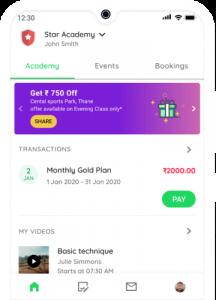 Badminton Coaching Academy - Student app Homepage