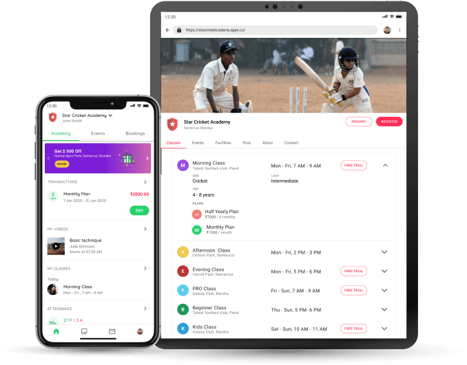 Cricket Academy - Student app and website