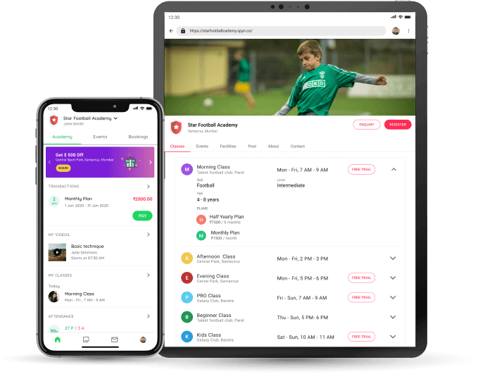 Football Academy - Student app website