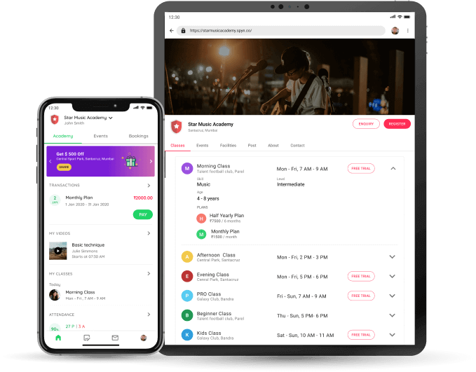 Music Academy - Student app and website