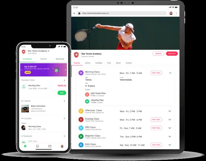 Tennis Academy - Student app and website